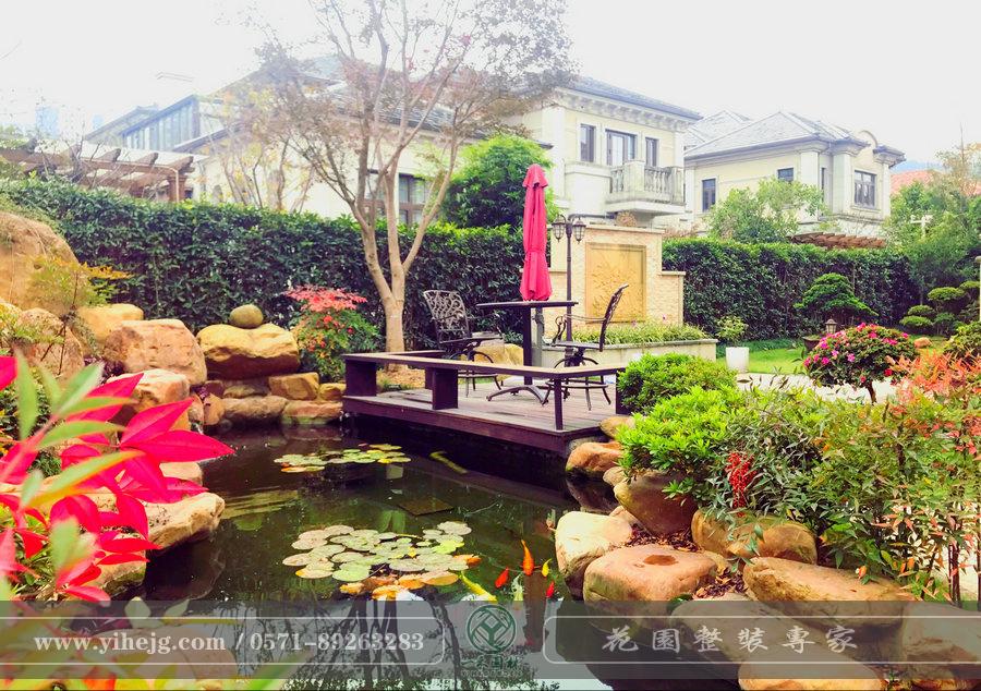 余姚悦龙湾|私家别墅花园景观设计规划|别墅庭院景观绿化|假山锦鲤池过滤改造施工